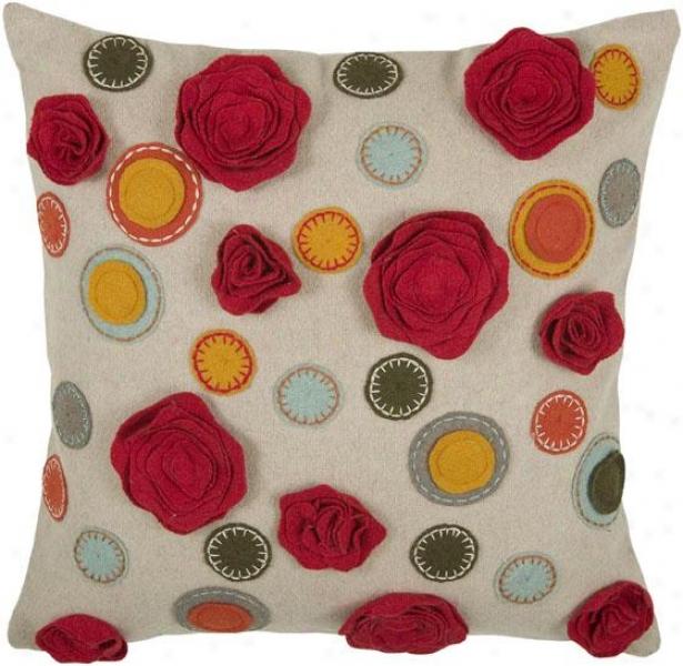 Kelsey Pillow - 18hx18w, Biege