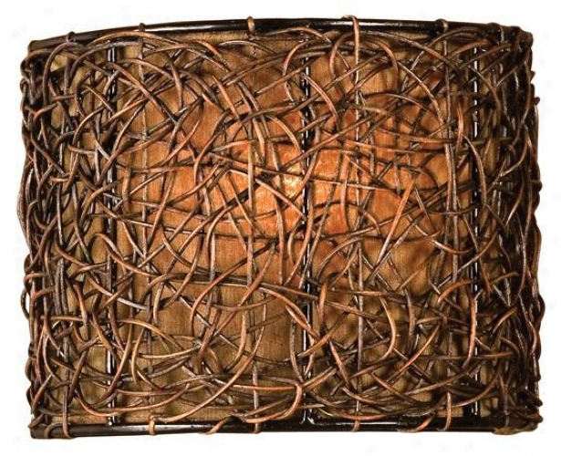 """""""knotted Rattan 1-light Wall Sconce - 9""""""""hx7""""""""w, Coffee Brown"""""""