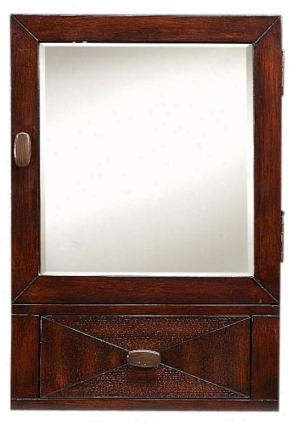 """kyoto Medium Mirrored Wal Cabinet - 25""""hx17""""w, Brown"""