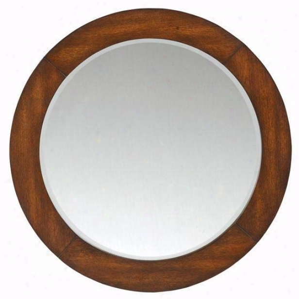 """""""kyoto Round Mirror - 28""""""""hx28""""""""w, Brown"""""""