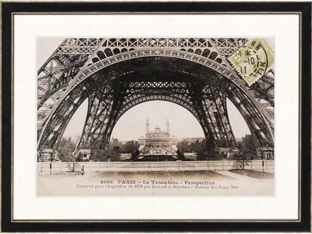 """la Basis De La Tour Eiffel Framed Wall Art - 35""""h X 47""""w, Black"""
