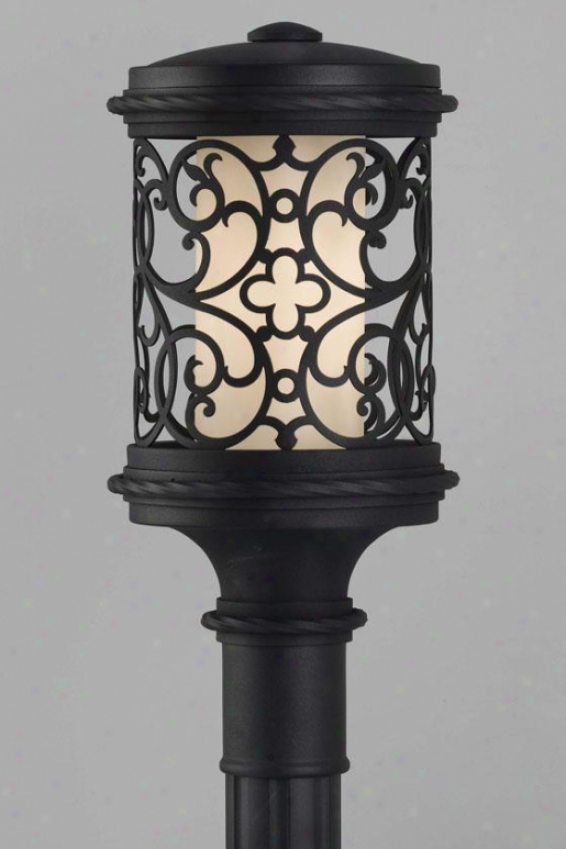 """la Vienna Outdoor Lamp Post - 18.75""""h Fluor, Black"""