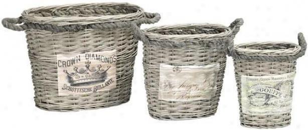 Labeled Jute-handled Baskets - Set Of 3 - Set Of 3, White