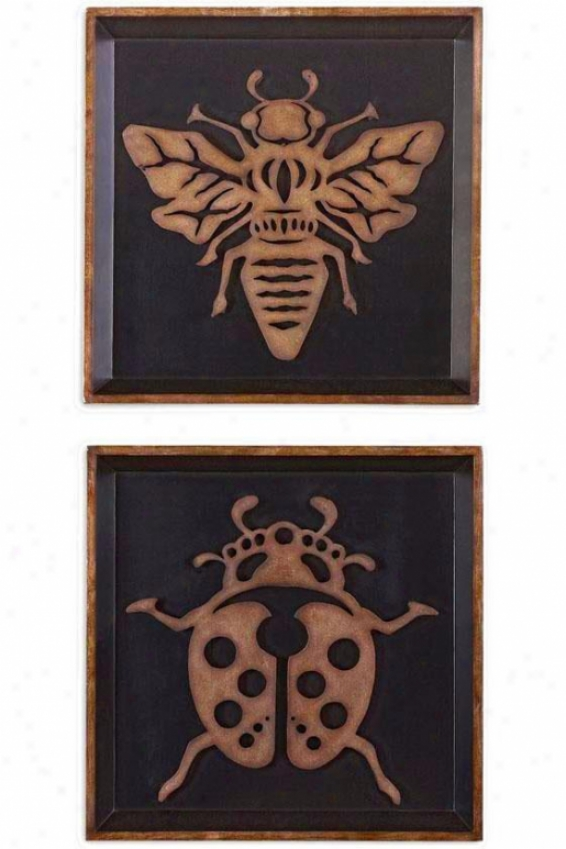 """""""ladybug And Bee Wall Sculptures- Set Of 2 - 21""""""""hx21""""""""w, Black"""""""