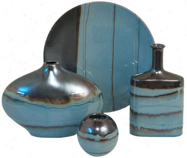 Lagoon 4-piece Ceramic Regular - Set Of Four, Blue/silver