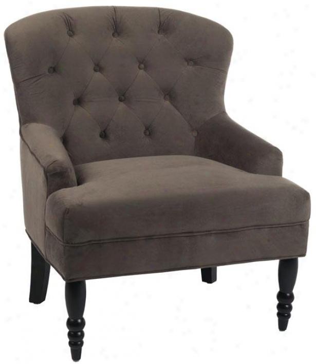 """lainey Tufted Arm Chair - 38""""hx30.5""""w, Solid Brwn Vlvt"""
