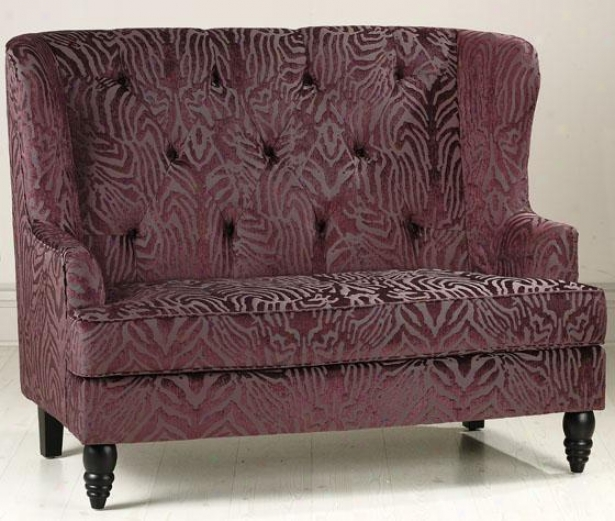 """lainey Tufted Settee - 42.5""""hx54""""w, Plum Jacquard"""