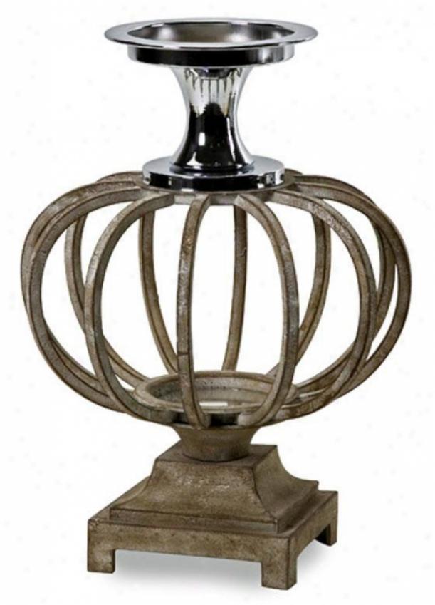 """lakeside Globe Candleholder - 16.25""""hx11.75""""d, Brown"""
