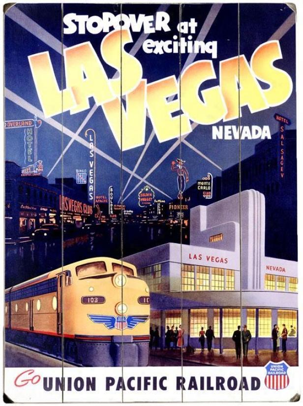 """las Vegas Woody Sign - 20""""hx14""""w, Blue"""