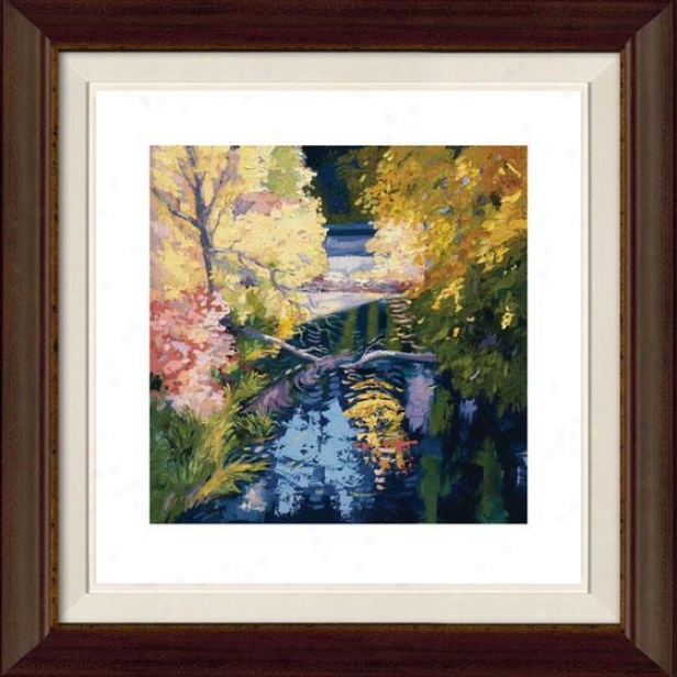 """Slow September Light Framed Wall Art - 32""""hx32""""w, Flt Atq Wln/gld"""
