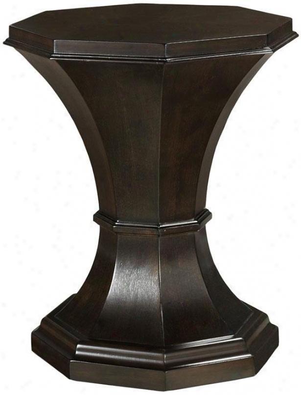 """lauren Pedestal Taable - 19.5""""dx24""""h, Coffee Brown"""