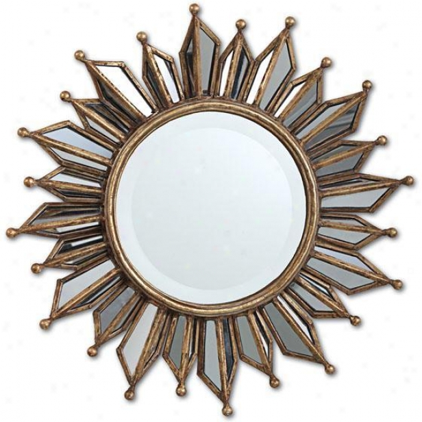 """le Soleil  Little Wall Mirror - 18.5""""d, Gold"""