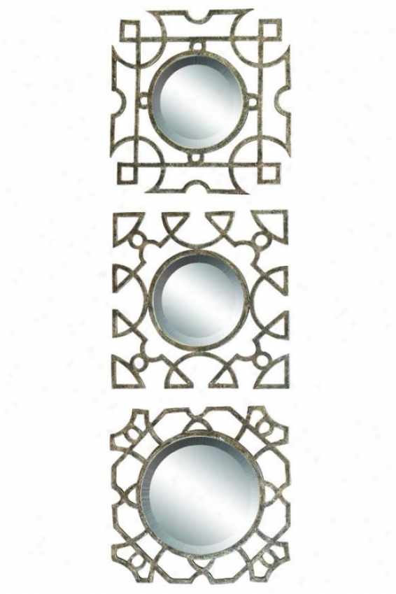 """leah Mirrors - Set Of 3 - 16""""h, Gold"""
