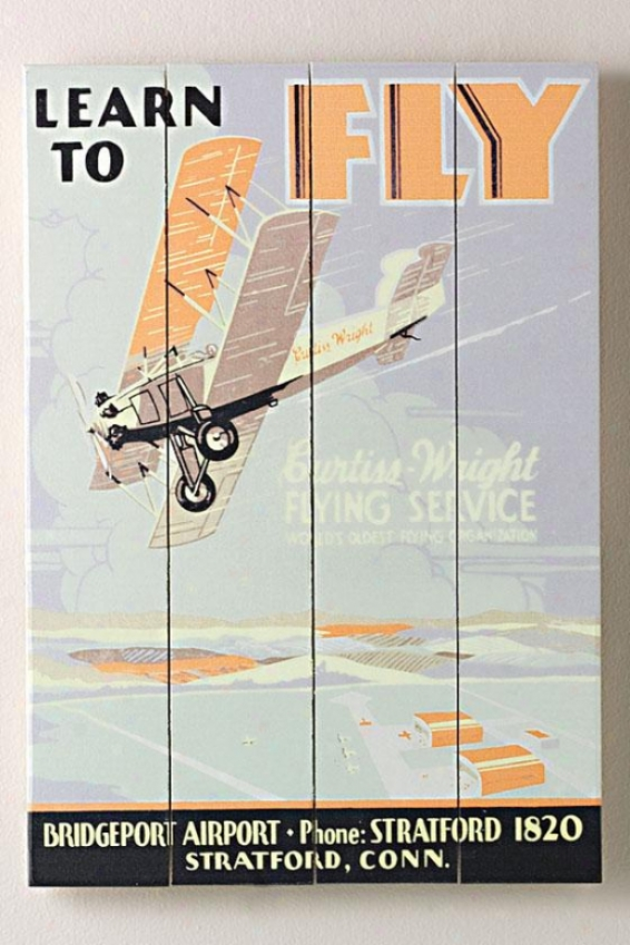 """learn To Fly Curtiss Fkight School Wooden Sign - 20""""hx14""""w, Pedantic """
