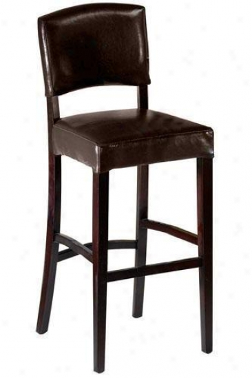 Leather Breakfast Bar Stool With Back - With Back, Brown