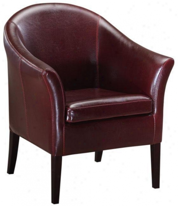 Leather Monte Carlo Club Chair - Standard, Burgundy