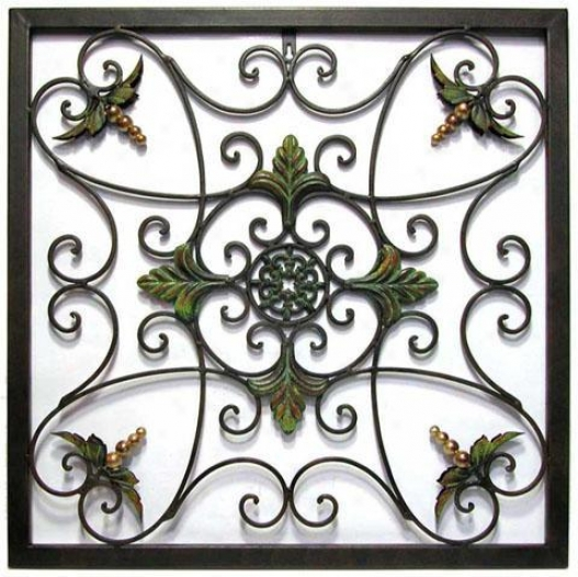"""leaves And Medallion Wall Cunning - 23""""hx23.75""""w, Sage"""
