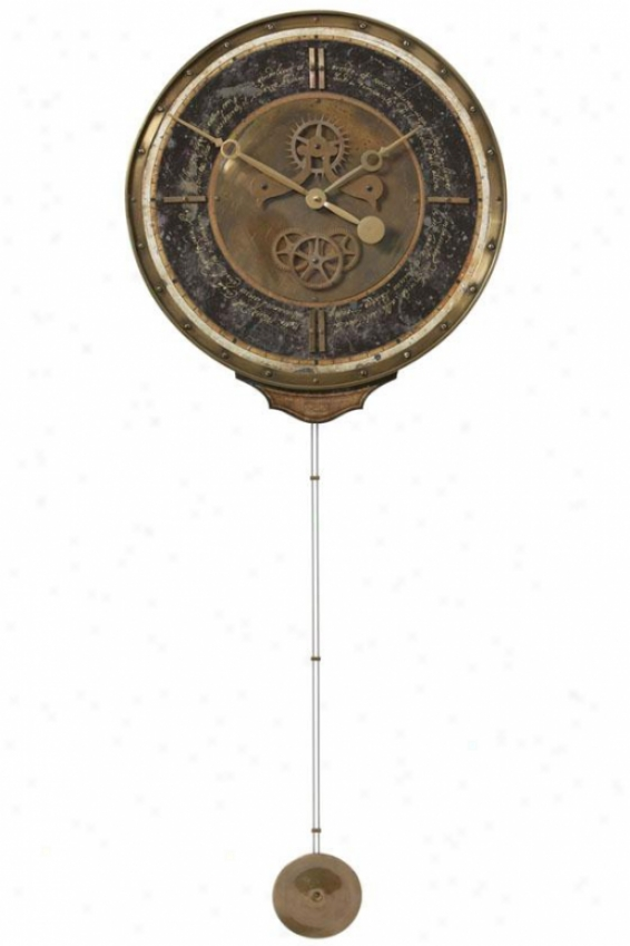 """leonardo Chronograph Black With Pendulum - 44.5x18x3.25""""d, Weathered Brass"""