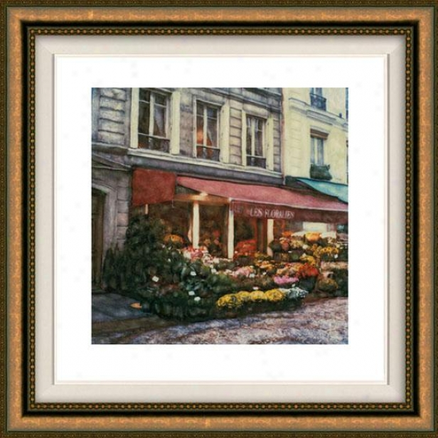 """les Floralies Framed Wall Art - 32""""hx32""""w, Floated Gold"""