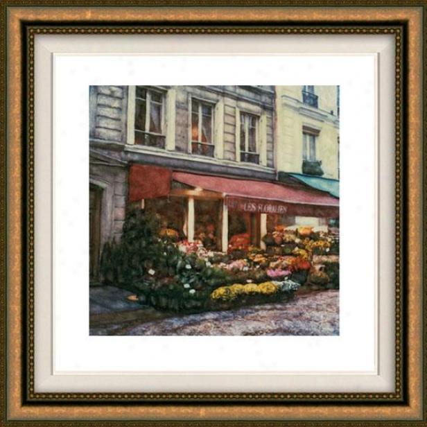 """les Floralies Framed Wall Art - 32""""hx32""""w, Floated Gold"""