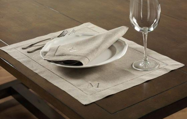 Linen Placemats - Set Of 6 - No Monogram, Ivory