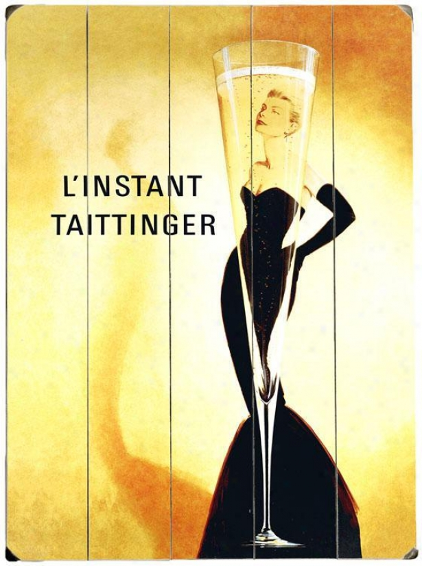 """l'instant Taittinger Champagne Woofen Sign - 20""""hx14""""w, Yellow"""