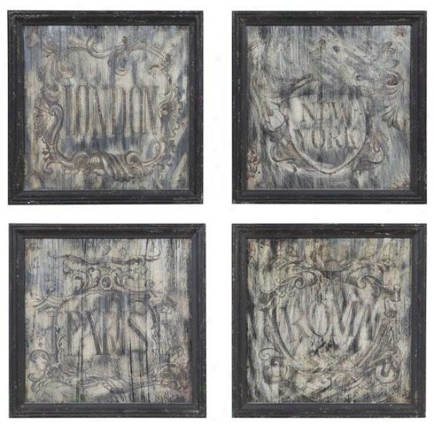 Lisbon Mirrored Wall Plaques - Set Off 4 - Set Of Four, Slate Grey
