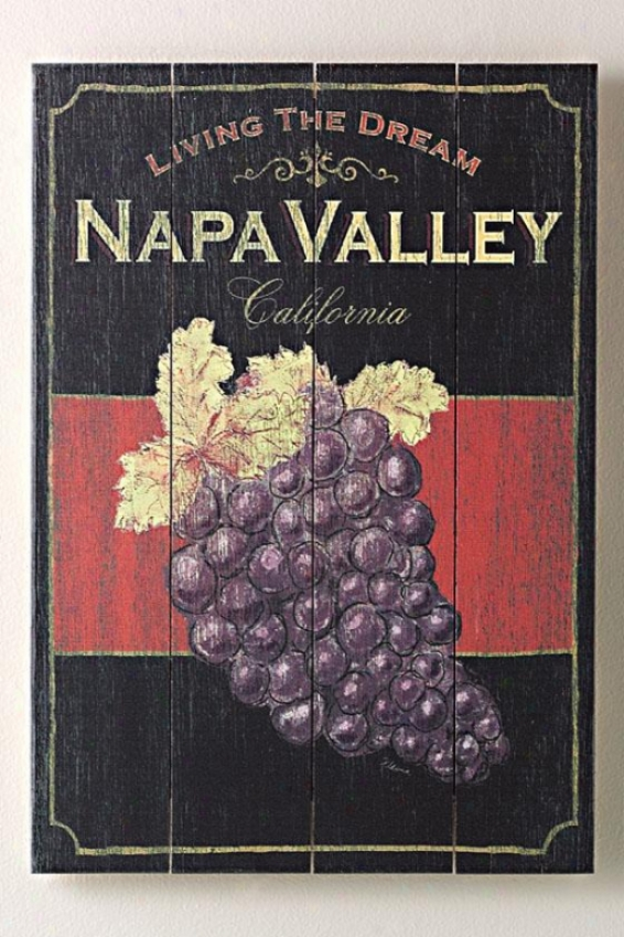 """living The Dream Napa Valley Wooden Sign - 20""""hx14""""w, Black"""
