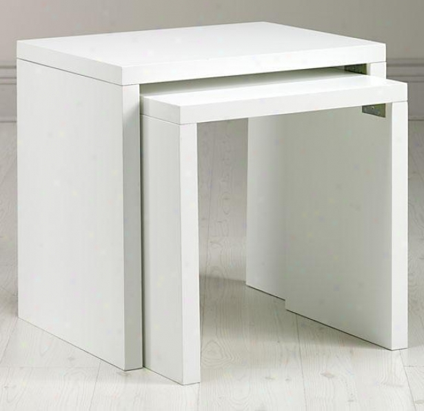 Loft Accenr Nesting Tables - Solid, White