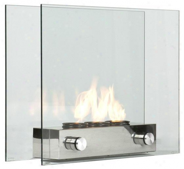 """loft Portable Fireplace - 32""""wx9.25""""d, Silver Nickel"""