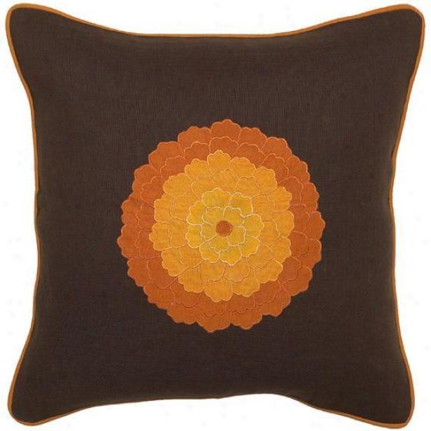 """lotus Pillows - Set Of 2 - 18""""x18"""", Chocolate Brown"""