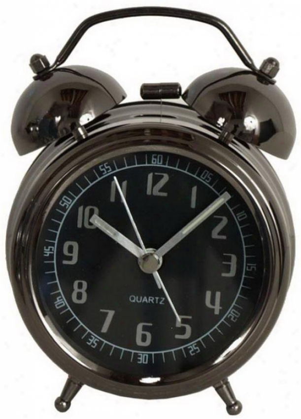 """lucas Black Metak Alarm Clock - 5hx3.25wx1.5""""d, Black"""