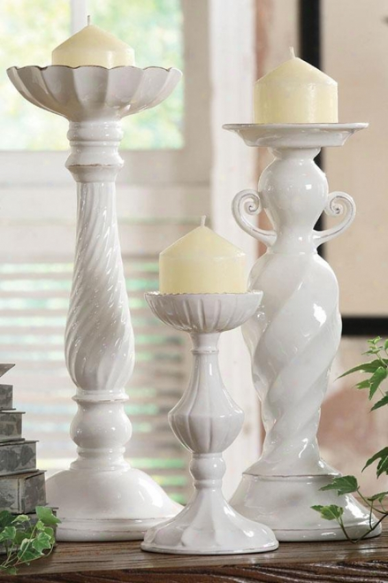 Lucile Candlesticks - 6x6, White