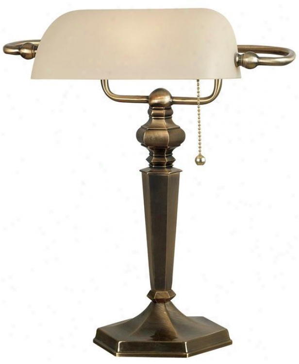 """mackinley Banker's Lamp - 15""""hx9""""w, Georgetown Brnz"""