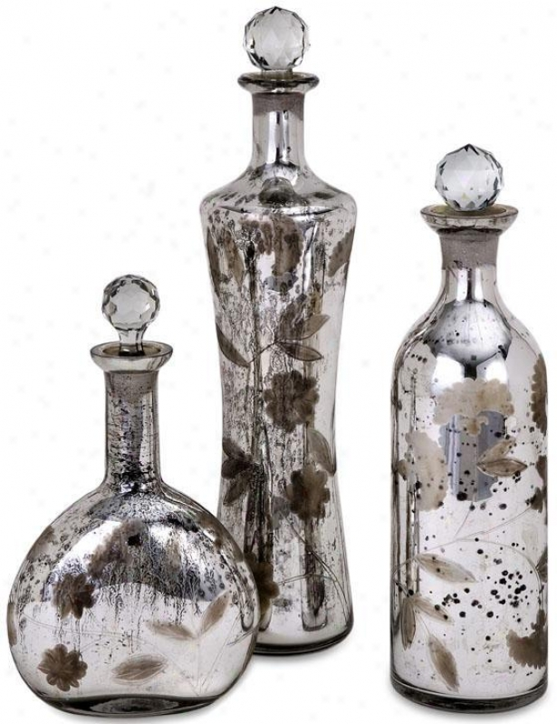 Madison Etched Mercury Glass-lidded Bottles - Set Of 3 - Set Of 3, Silver