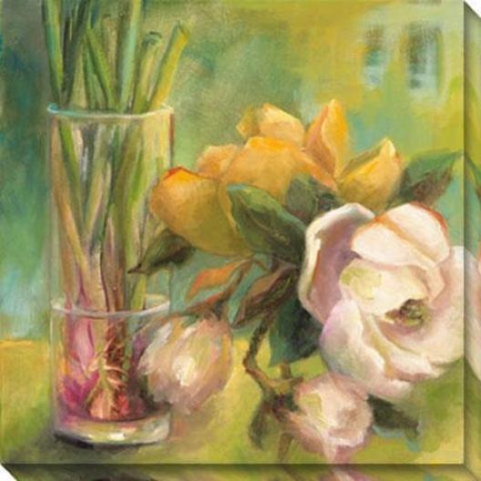"""""""magnolia Blossom Canvas Wall Art - 40""""""""hx40""""""""w, Green"""""""