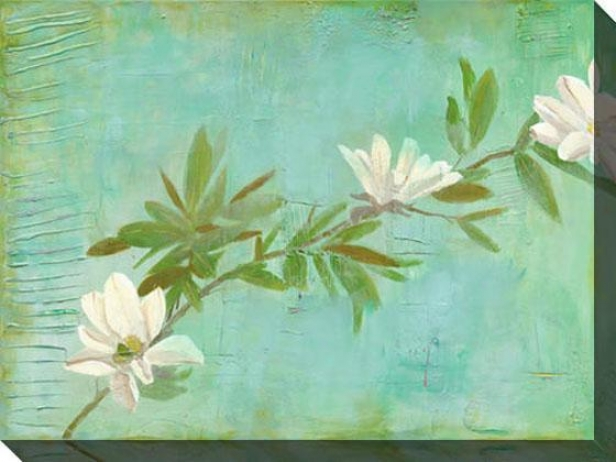 """""""magnolias On Turquoise Canvas Wall Art - 48""""""""hx36""""""""w, Green"""""""