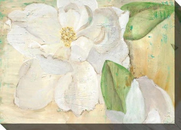 """magnolias On Yellow Canvas Wall Art - 48""""hx35""""w, Whitr"""