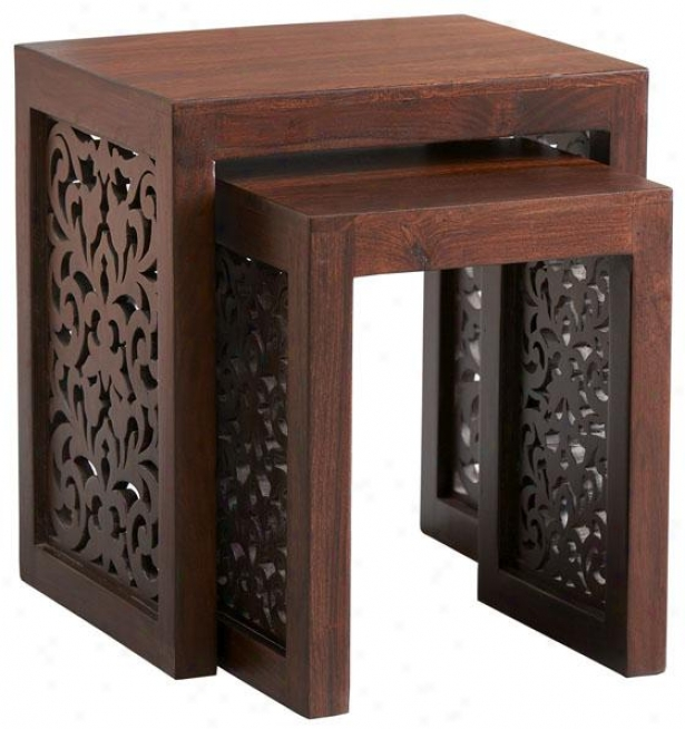 Maharaja Accent Nesting Tables - Nesting Tbks/2, Brown Wood