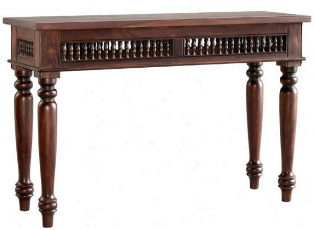 """maharaja Sofa Console Table - 30""""hx46""""wx16""""r, Bron Wood"""