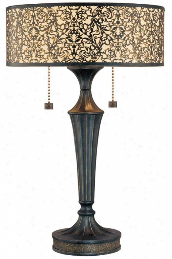 """malia Collection 2-light Bronze Table Lamp - 28""""h X 18""""w, Bronze"""