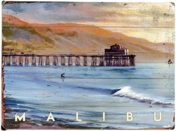 """malibu Pier Wooden Sign - 20""""hx14""""w, Blue"""