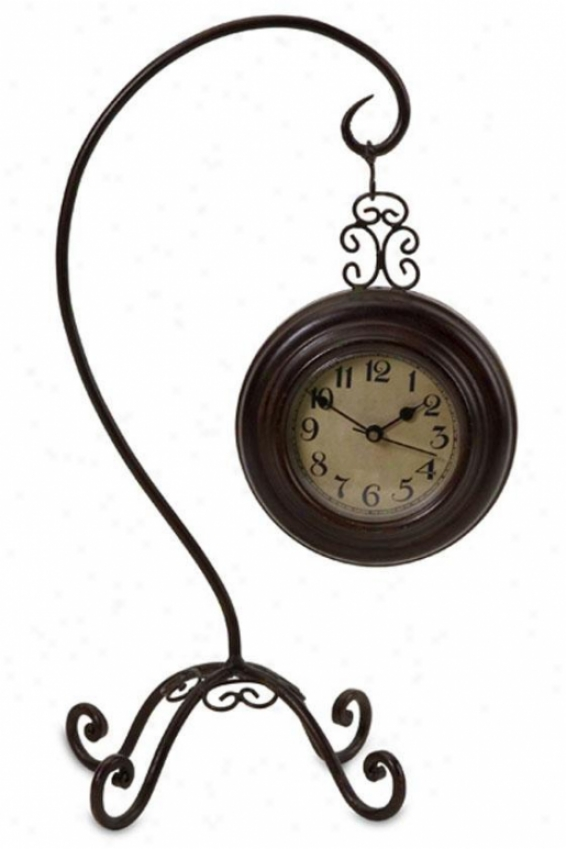 """manuscript Clock In c~tinuance Curved Stand - 14.25""""hx8.25""""w, Bronze"""