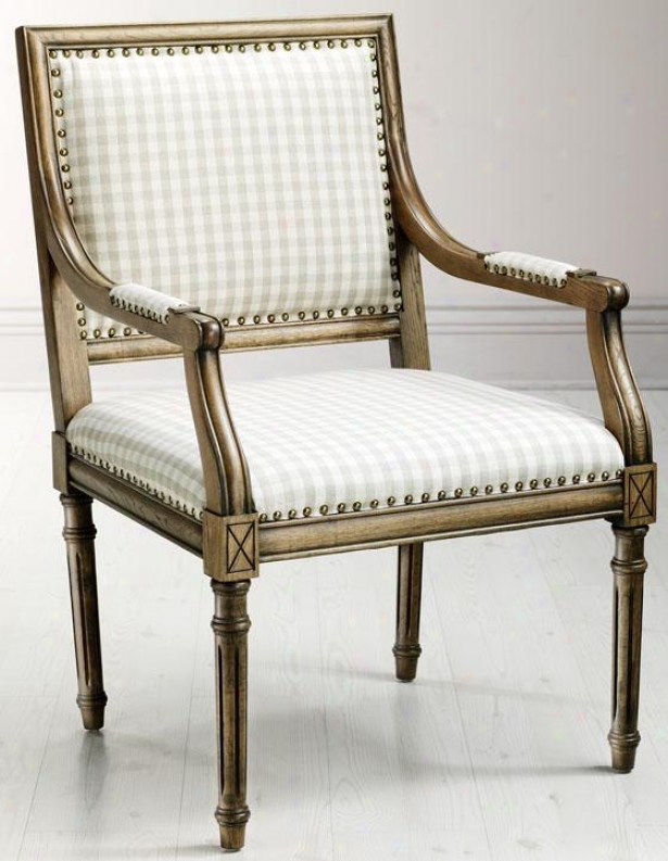 """marais Arm Chair - 38.5""""hx25""""wx28d, Ivory Plaid"""