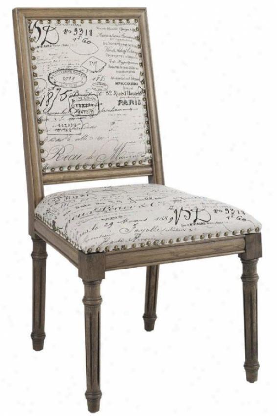 """marais Side Chair - 38""""hx25""""w, Ivory Script"""