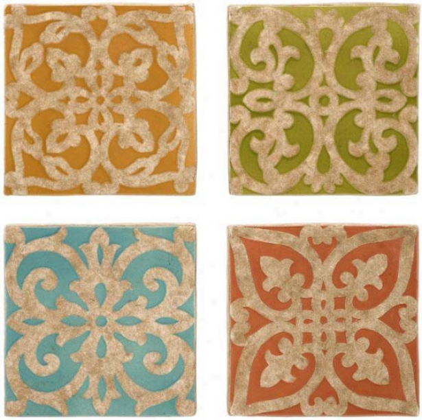 """mariana Wall Tile Prints - Set Of 4 - 9.25""""hx9.25""""w, Org/grn/blu/pnk"""