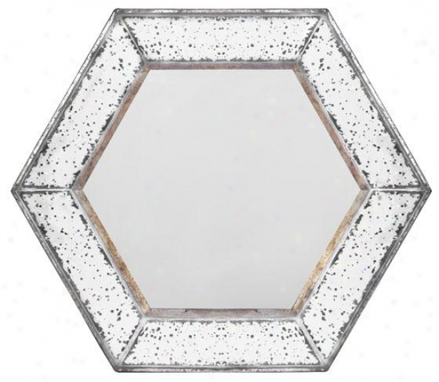 """marilyn Hexagon Mirror - Hexagon 21""""x21"""", Antiqued Mirror"""