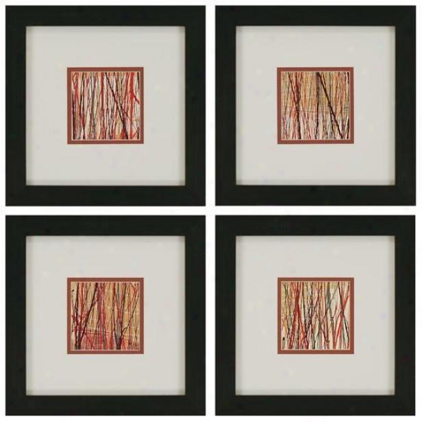 Matrix Wall Art - Set Of 4 - Set Of 4, Red