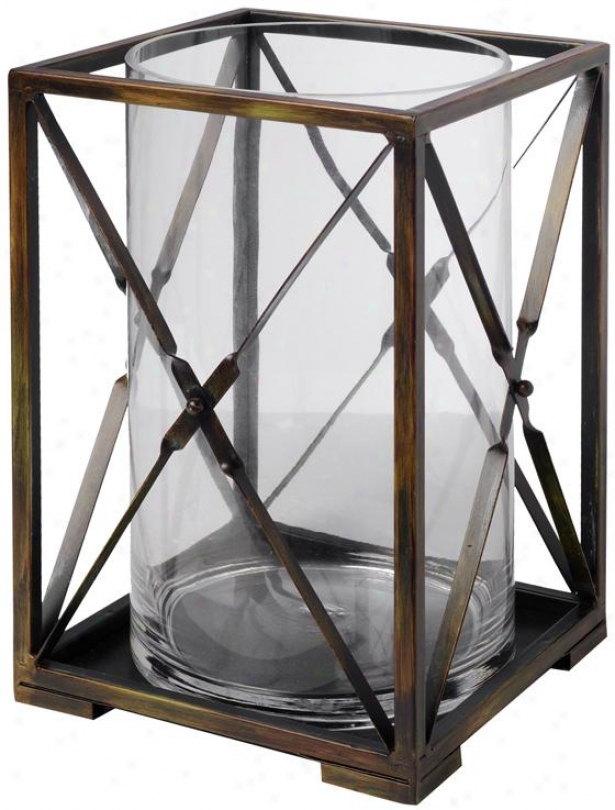 Matrix Wide Candleholder - Large 8x8x12, Brown
