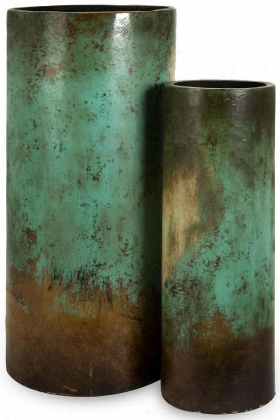 Mazatlan Floor Vases - Set Of 2 - Place Of Two, Teal/brown